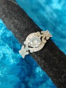 Beautiful Round Intricate Leaf Princess boho Style Engagement Ring Sz P