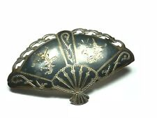 SIAM .925 Sterling Silver Fan Blade Style Pin / Brooch w/ Patina - FREE S&H
