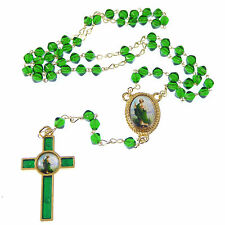 St. Jude green bicone glass rosary beads with gold crucifix Catholic