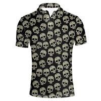Black Skull Shirt Mens Short Sleeve Basic Top Tee Personality Summer Shirts