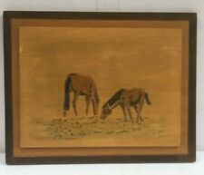 Hand carved Picture Wood wall art wooden Ponies Grazing 30 X 23 cm Irish Craft