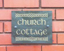 slate house sign number sign with celtic design