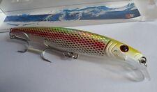 Noeby leurre traine Minnow 15cm 42g nage 0 à 5m couleur chartreuse pailleté