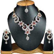 Shop Indian Jewellery Online V34 Gold Tone Maroon Bollywood Star Necklace Set