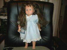 """Gotz Puppe 16/16 long layered brunette hair blue eyes doll 17"""" original dress"""