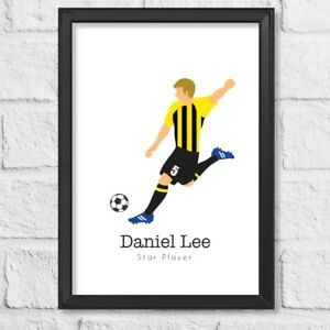 Personalised Football Gift Birthday present all colours available framed print