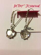 $45 Betsey Johnson Heart Pave Skull Drop Earrings Q-20A