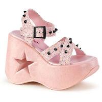 Demonia DYNAMITE-02 Baby Pink Glitter Star Platform Disco Spikes Women's Sandals