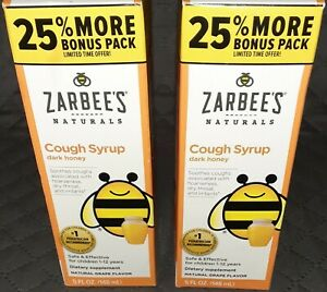 Zarbee's Naturals Cough Syrup Dark Honey 5 fl.oz. 2 PACK. Exp.6/21