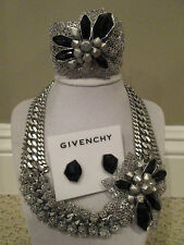 NWT Auth Givenchy Flower Runway Statement Necklace Cuff Bracelet Earrings Set
