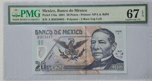 2001 MEXICO 20 Pesos PMG67 EPQ SUPERB GEM UNC [P-116a] 'Polymer'