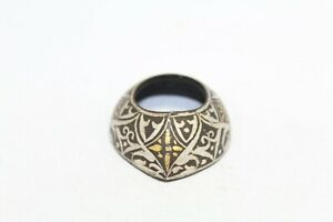 Handcrafted Steel Silver Gold Wire Work Thumb Guard Archery Ring Bow Shooting