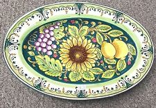 Deruta pottery-14,1/2x9,1/2 Inch Oval sunflower and fruit.Made/painted in italy