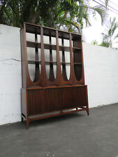 Broyhill Brasilia Mid Century Tall Room Divider Bookcase Display Cabinet  8614