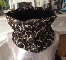 Snood col tour cou echarpe polaire réversible noir / tissu baroque Steampunk