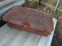 Vintage brown leather suitcase trunk (well worn) TC210120BC