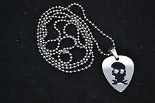 "Stainless Steel Guitar Pick pendant with Black Skull Design & 30"" bead Chain"
