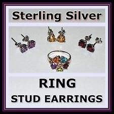 STERLING SILVER Rhodium Sz 7 RING + 3 STUD EARRINGS Purple Red Amber Multicolor
