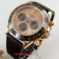 39mm PARNIS rose dial sapphire rose golden case Chronograph quartz mens watch