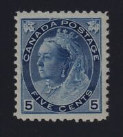 Canada Sc #79b (1898) 5c blue on whiter paper Victoria Numeral Mint VF NH