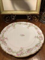 "LS & S Limoges France Floral Pink Roses Gold Scalloped ~9.5"" Plate~Antique~1895"