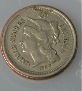 1867 3 Cent   Copper Nickel Coin XF or better