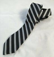 Wembley Mens 100% Silk Necktie Hand Made Black Silver White Diagonal Stripe Tie