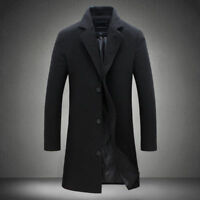 Men's British Jacket Outwear Casual Wool Trench Winter Overcoat Warm Long Coat
