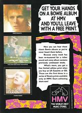 DAVID BOWIE early albums (HMV) UK magazine ADVERT / Poster 11x8 inches
