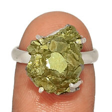 Peruvian Golden Pyrite 925 Sterling Silver Ring Jewelry s.7 AR210817