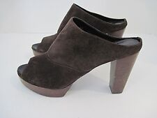 ROBERT CLERGERIE Brown Suede Leather Mule/Clog Platform Open Toe Size 9
