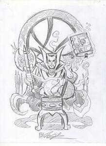 Dr Doctor Strange Sanctum Sanctorum ORIGINAL PENCIL SKETCH by Tim Shinn