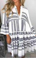 Women's Ladies Aztec Print V Neck Frill Layered Summer Smock Swing Mini Dress