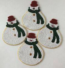 "Beaded Snowman Coasters Set Of Four 3 3/4"" x 4"""