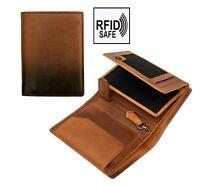 Prime Hide Cherokee NEW Mens Designer Brown Leather Vertical Trifold Wallet RFID