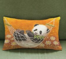 "Orange Cute Panda Cushion 19"" x 12"" Cover Pillow Case Birthday Gift Home Decor"