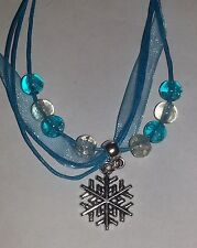 Girls Blue Organza, Wax Necklace , Crackle Beads Frozen Inspired Snowflake Charm