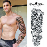 TEMPORARY TATTOO SLEEVE REALISTIC LIFE IS A GAME SKULL HALLOWEEN MENS, WOMENS