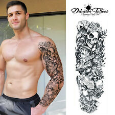 Brazo de manga completo tatuaje temporal realista de la vida es un juego, cráneo, para hombre, para Mujer