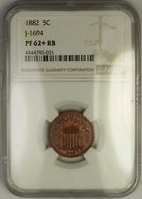 1882 Shield Nickel Pattern Proof Copper Coin NGC PF-62+ Plus RB J-1694 Judd WW
