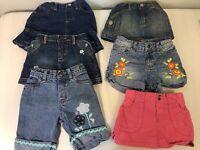 6 Girls Summer Clothes Shorts Skirts Lot 6-12 & 12 Month Set Disney Old Navy Etc