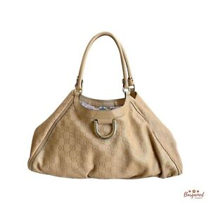Authentic GUCCI Taupe GG Guccissima Leather D Ring Large Hobo Bag 189835