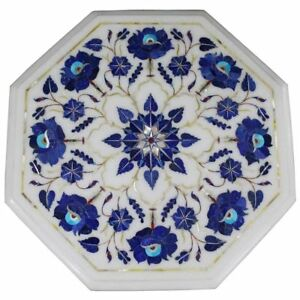 """12"""" Marble Table Top semi precious stones lapis inlay floral art work"""