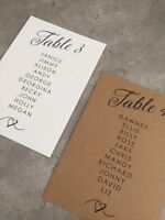 Handmade Personalised Wedding Table Plan Cards Individual cards and Header Cards