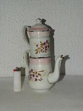 Cafetière théière émaillée ancienne complète décor violette vintage collection