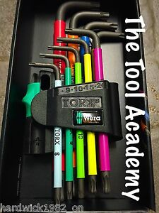 Wera Tools TORX Star T8 -T40 Allen Key Set Bright Colours 9 Piece With Holder