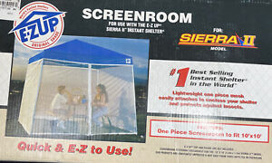 E-Z UP 10' x 10' Screenroom For Use With Sierra II Instant Shelter S2ASR10MSWHA