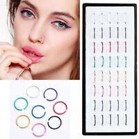 Cute Multi Stainless Steel Nose Studs Ring Hoop Body Piercing Jewelry 40pcs Set
