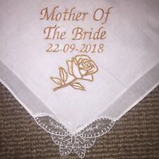 Mother Bride Personalised Embroidered Embroidery Handkerchief - Wedding Favour
