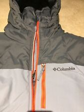 Boys Xl Columbia Coat Euc Grey Orange Expandable Sleeves Clean